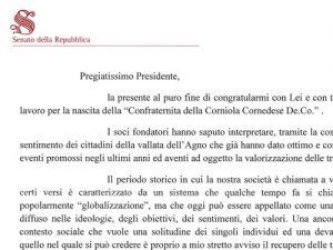 La Senatrice Stefani si congratula con la Confraternita